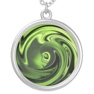 Abstract Chartreuse Anime Face Necklace