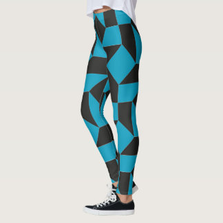 Abstract checker pattern leggings