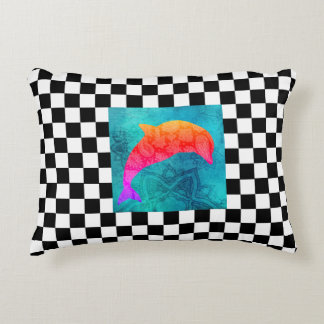 Abstract Checkerboard Rainbow Dolphin Pillow