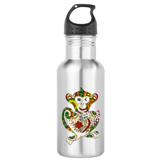 Abstract: cheerful monkey 532 ml water bottle