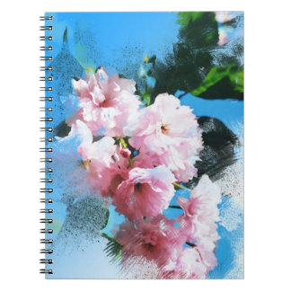 Abstract Cherry Blossom Spiral Notebooks
