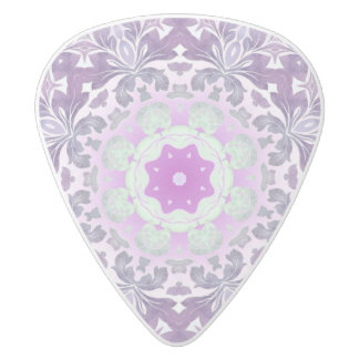 abstract chic girly pattern pastel purple damask white delrin guitar pick