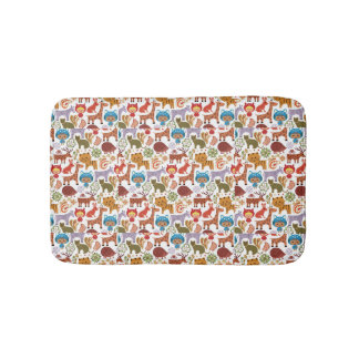 Abstract Child and Animals Pattern Bathroom Mat