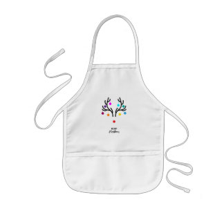 Abstract Christmas deer with red nose Kids Apron