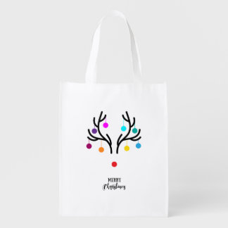 Abstract Christmas deer with red nose Reusable Grocery Bag