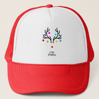 Abstract Christmas deer with red nose Trucker Hat