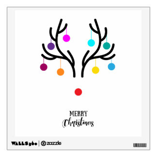Abstract Christmas deer with red nose Wall Sticker