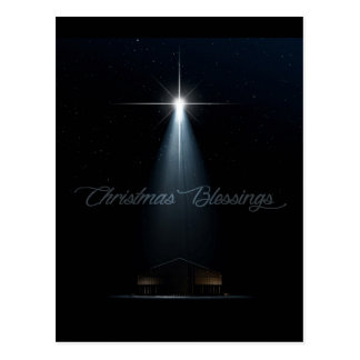 Abstract Christmas Nativity Stable And Star Postcard