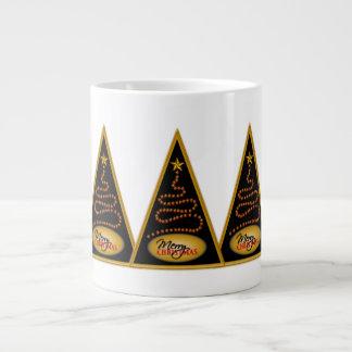 Abstract Christmas Tree Black and Gold JUMBO Mugs Extra Large Mugs