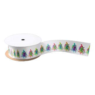 Abstract christmas tree border. satin ribbon