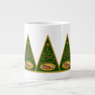 Abstract Christmas Tree Green and Gold JUMBO Mugs