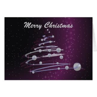 Abstract Christmas Tree On Purple Greeting Card