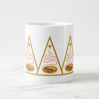 Abstract Christmas Tree White and Gold JUMBO Mugs Jumbo Mug