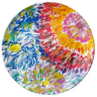 Abstract Chrysanthemums Porcelain Plate