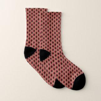 Abstract Circle Pattern Gold Pink And Brown Socks
