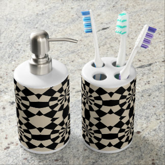 Abstract circle pattern soap dispenser and toothbrush holder