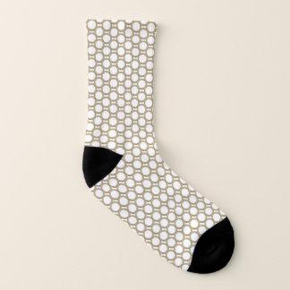 Abstract Circle Print Gold And White Socks