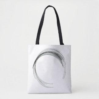 abstract circle round draw black white scrawl mode tote bag