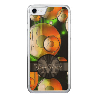 Abstract circles and monogram carved iPhone 7 case