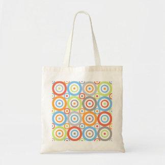 Abstract Circles Big Pattern Color Mix & Greys Budget Tote Bag