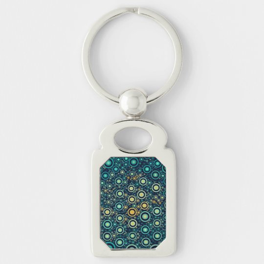 Abstract Circles Silver-Colored Rectangle Keychain