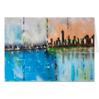 Abstract city painting postcard