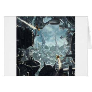 Abstract City Space Station Card