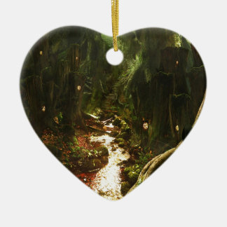 Abstract City Tree Discovery Ceramic Heart Ornament