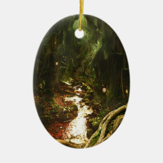 Abstract City Tree Discovery Ceramic Oval Ornament