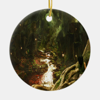 Abstract City Tree Discovery Round Ceramic Ornament