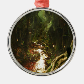 Abstract City Tree Discovery Silver-Colored Round Ornament