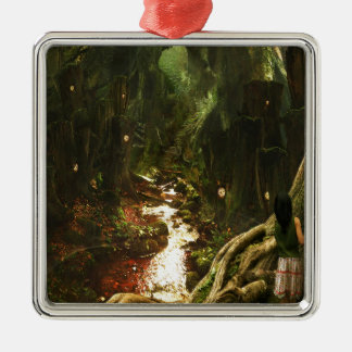 Abstract City Tree Discovery Silver-Colored Square Ornament
