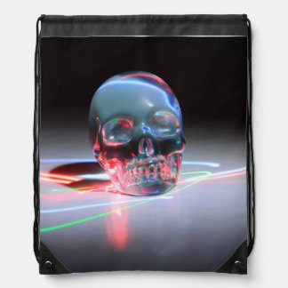 Abstract Clear Skull Drawstring Bag