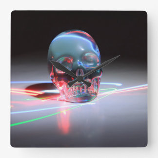 Abstract Clear Skull Square Wall Clock