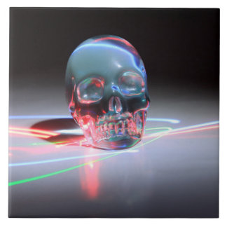 Abstract Clear Skull Tile