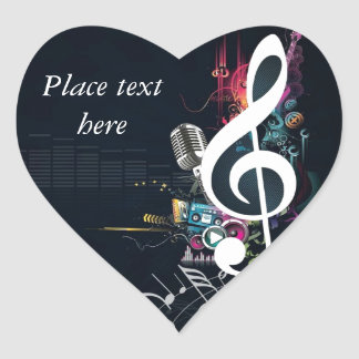 Abstract Cleft Note and Microphone Heart Sticker