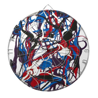 Abstract clock blue, red, black, white. Modern. Dartboard
