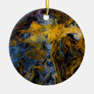 Abstract close up of Pietersite Round Ceramic Ornament
