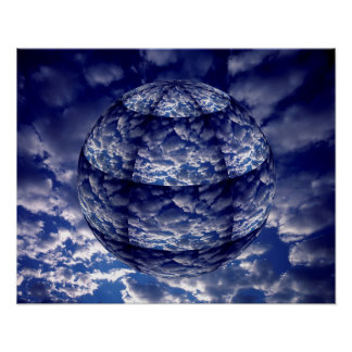 Abstract cloud 3D sphere Poster