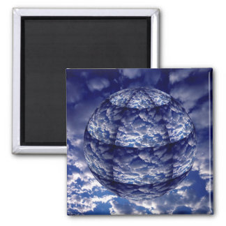 Abstract cloud 3D sphere Square Magnet