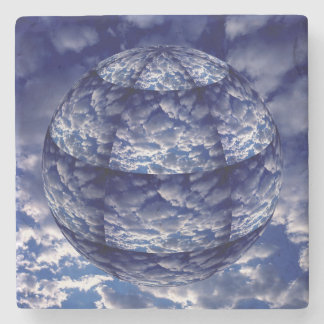 Abstract cloud 3D sphere Stone Coaster