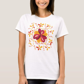 Abstract Clovers In Pink And Yellow T-Shirt