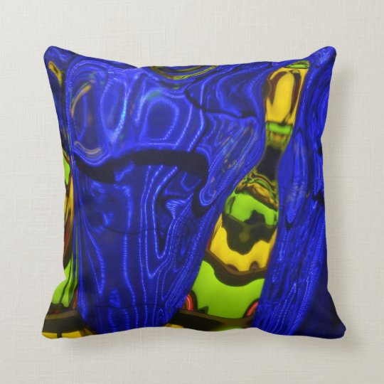 Abstract Cobalt Lime Green Yellow Throw Pillow