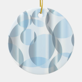 Abstract Cold Blue Circles Round Ceramic Ornament