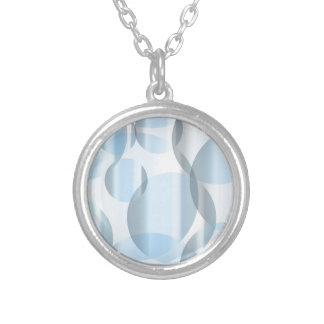 Abstract Cold Blue Circles Silver Plated Necklace
