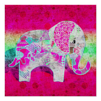 Abstract Collage Addy the Elephant ID107 Perfect Poster
