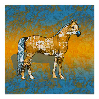 Abstract Collage Beaumont the Horse ID109 Poster