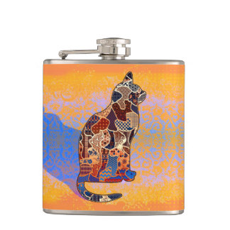Abstract Collage Clarice the Cat ID103 Flask