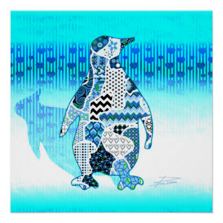 Abstract Collage Dido the Penguin ID110 Perfect Poster