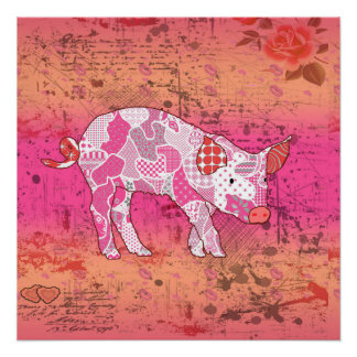 Abstract Collage Gabby the Pig ID111 Perfect Poster